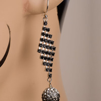 Deco Style Black Diamond Drop Earrings