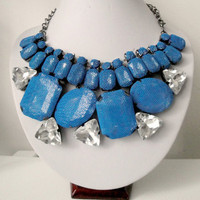 Blue Bridesmaid Necklace, Chunky Bridesmaid Necklace, Bridesmaid Crystal Necklace, Bridesmaid Statement Necklace Peacock Blue