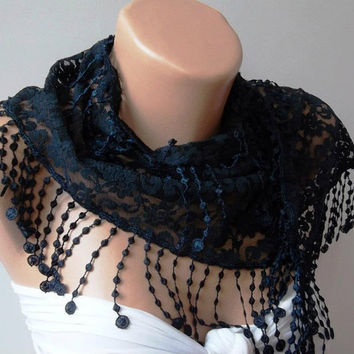 Dark Blue   lace and Elegance Shawl / Scarf - with Lace Edge-