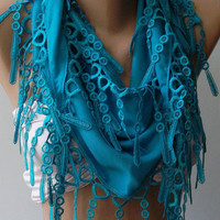 Blue -- Pashmina and Elegance Shawl / Scarf with Lace Edge---