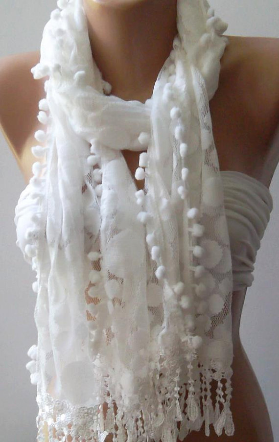White - Elegance  Shawl -- Scarf with Lacy Edge--