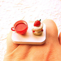 Tea Ring Cute Miniature Food Jewelry Tea and Strawberry Cake Ring