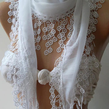 Cotton/  White/ Traditional Turkish fabric /Anatolian Shawl/Scarf..