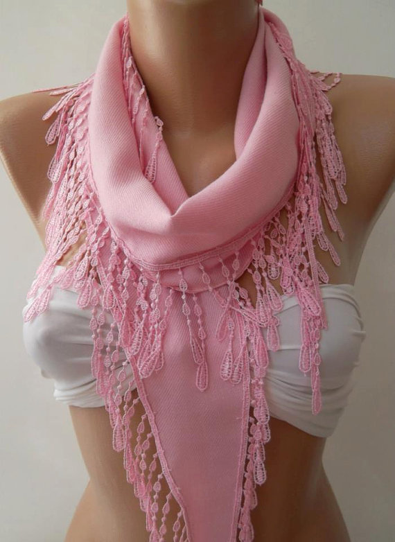 ON SALE/Pink --- Elegance Shawl / Scarf with Lace Edge---