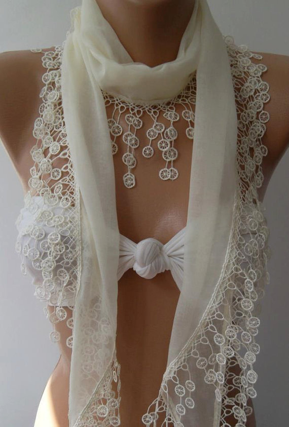 Pearl White /Cotton/ Traditional Turkish fabric /Anatolian Shawl...