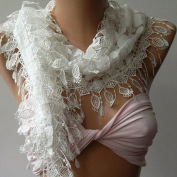 White - Elegance  Shawl / Scarf with Lacy Edge,,,,