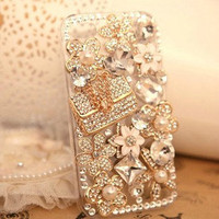 Free Shipping Luxury Crystal Alloy Bag, Alloy Flower and crystal Design Deco Phone Kit for iphone4S (Case not included)