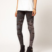 ASOS Leggings in Distressed Tie Dye at asos.com