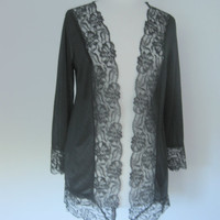 Vintage Black Lace Boudoir Jacket 1970s