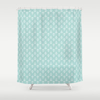 Mint Anchors Pattern Shower Curtain by heartlocked