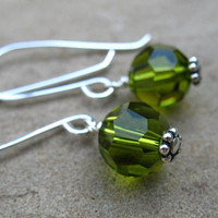 Green Earrings, Sterling Silver, Petite Swarovski Crystal Earrings, Olive Green