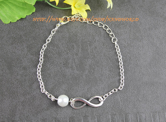 infinity pearl bracelet karma bracelet wish bracelet women or gril bracelet