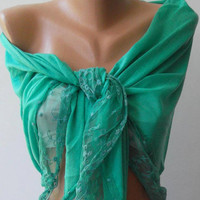 Nile Green / Elegance  Shawl / Scarf with Lacy Edge.