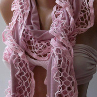 Pink - Elegance Shawl / Scarf with Lace Edge...