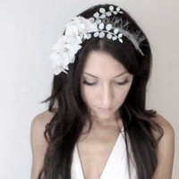 White Doves Flower Headband Crown White wedding hair by deLoop