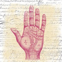 Palm Reader - Vintage Illustration with Antique Writing - Giclee Print