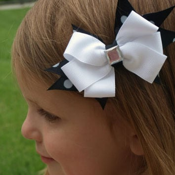 black and white hair bow- girls accessories- bow on clip