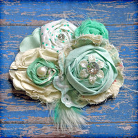 Mint Green Cream Hair Accessory, Fabric Flower Headband, Brooch