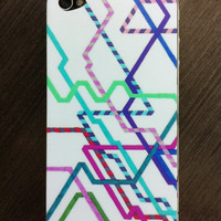 "iPhone 4 Skin - ""Hipster Railroad"" Graph Drawing - custom iPhone skin, art iPhone skin, original art, iphone 4/4S skin"