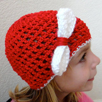 Hat Red White Bow Child Beanie