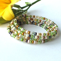Stacking beaded bracelets - 4 summer garden bangles in one