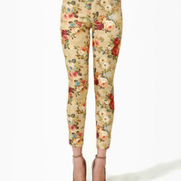 Cute Beige Jeans - Floral Print Jeans - Ankle Jeans - $42.00
