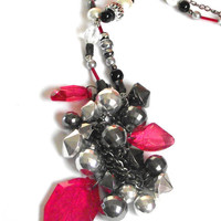 Grunge red necklace Rock n roll necklace