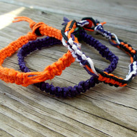 Hemp Bracelet Set of 3 Halloween Macrame Orange Purple White Unisex