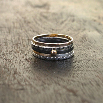 Mixed metal set of stack rings. Silver and gold stacking rings set of five. Small, thin sterling silver, gold fill and 14K gold band rings
