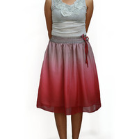 Autumn Ombre Red and Grey Chiffon Midi Skirt - Ready to Ship