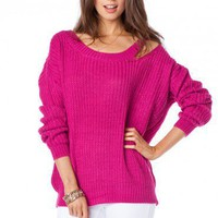 Shoulder Slash Sweater in Fuchsia - ShopSosie.com