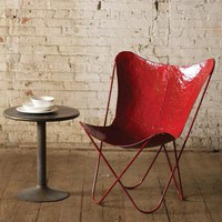 iron butterfly chair | industrial furniture | antique red metal finish