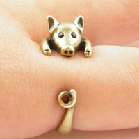 Lucky Gold Pig Wrap Ring