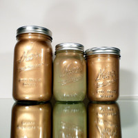 Home, Dorm or Office Decor - Mason Jars - Gold and Green - Industrial - Pen and Pencil Holder - Fall
