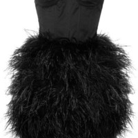 Opulence England - Feather-embellished Satin Bustier Dress