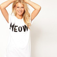 ASOS T-Shirt with Meow Print at asos.com