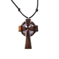 Mens Celtic Cross Necklace, Mens Cross Necklace, Wood Celtic Cross Pendant, Wood Cross Necklace, Wooden Cross Pendant, Christian Jewelry