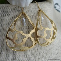 CHERYLGold Ornate Domed Teardrop Earrings with by BlondeChick