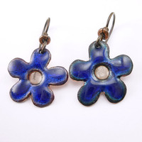 Blue Enamel Plique-a-jour Flower Earrings