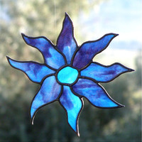 Blue Flower Stained Glass Suncatcher