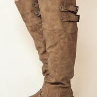 Knee High Boots, Taupe