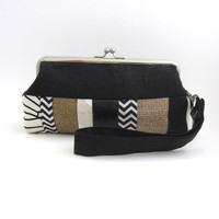 imperfect discounted  Wristlet frame clutch- stripe patchwork Black 30% off