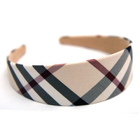 40mm(1.57'') Wide Beige Plaid Check Comfortable Headband