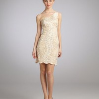 Sue Wong antique champagne appliqué one shoulder dress | BLUEFLY up to 70 off designer brands