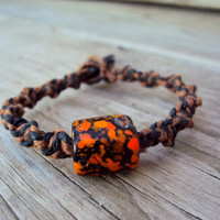 Hemp Macrame Bracelet Halloween Orange Black For Men For Women