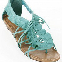 Ruffled Lace-Up Flat Sandals |   Sandals Gladiator Sandals | BALI-01-OPPO | AQUA | Bare Feet Shoes