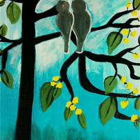 The Love Birds 18x14 On Gallery Wrapped Canvas Original Acrylic Painting by Amanda Pennington