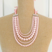 Pink Pearl Statement Necklace - Multi Strand Glass Pearl - Satin Ribbon - Wedding, Bridal, Bridesmaid, Preppy Necklace