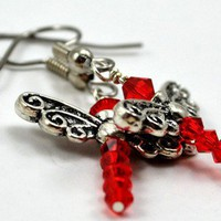 Red Swarovski Crystal Dragonfly Earrings