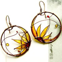 Sunflower Earrings. Sunflower Jewelry. Round Copper Earrings.